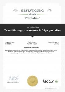 Weiterbildung Hendrik Brecht - Teamführung