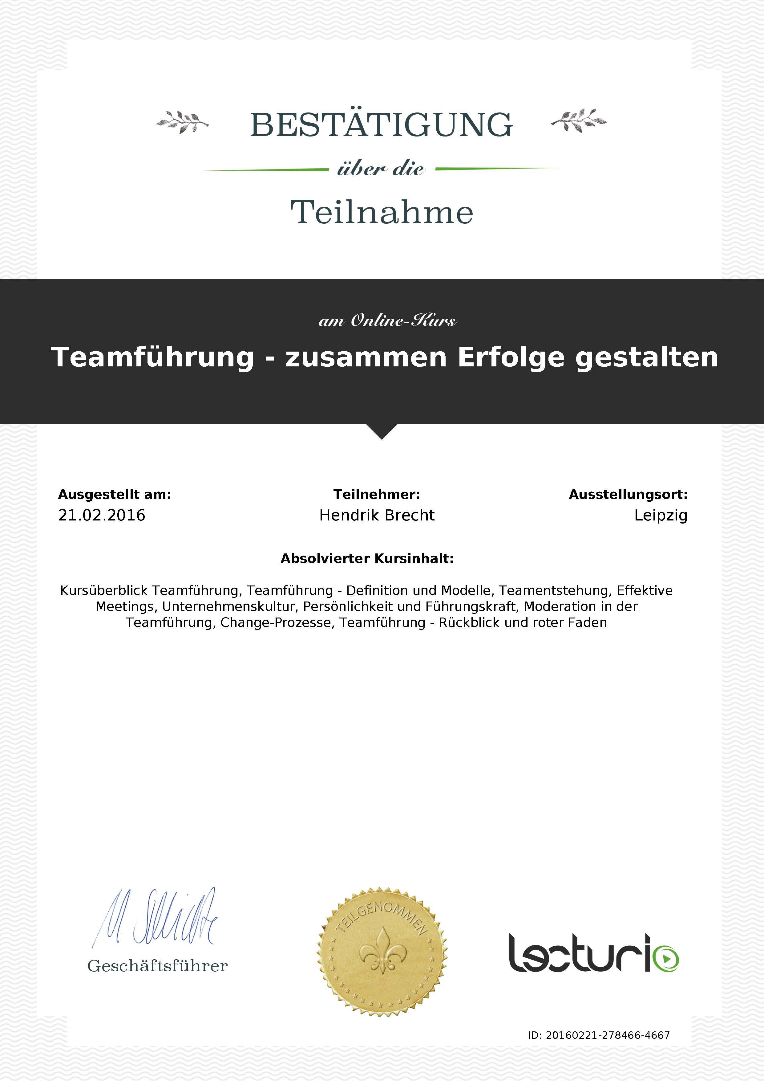 Hendrik Brecht - Teamführung - zusammen Erfolge gestalten 2016