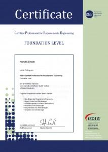 Weiterbildung Hendrik Brecht - Certified Professional for Requirements Engineering