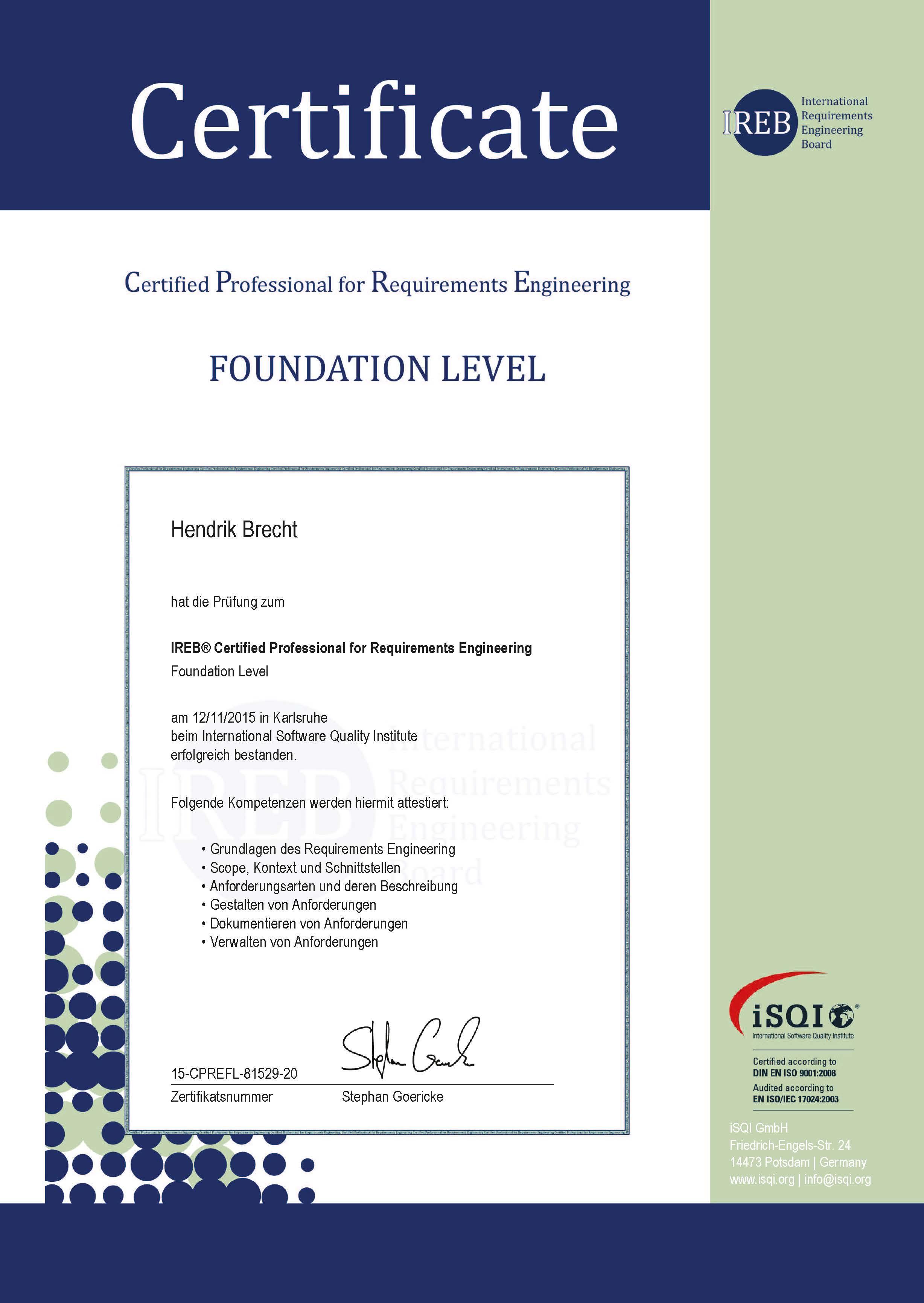 Hendrik Brecht - Certified Professional for Requirements Engineering - 2015 CPRE