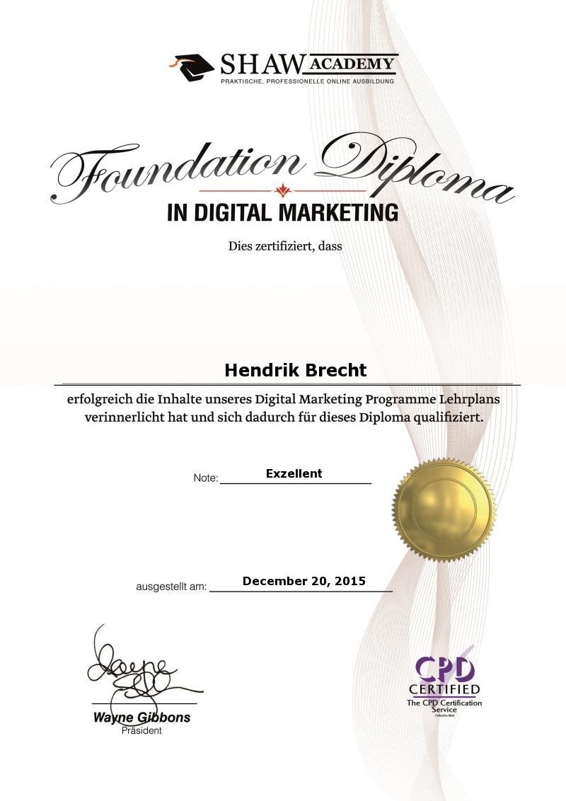 Hendrik Brecht - Digital Marketing - 2015