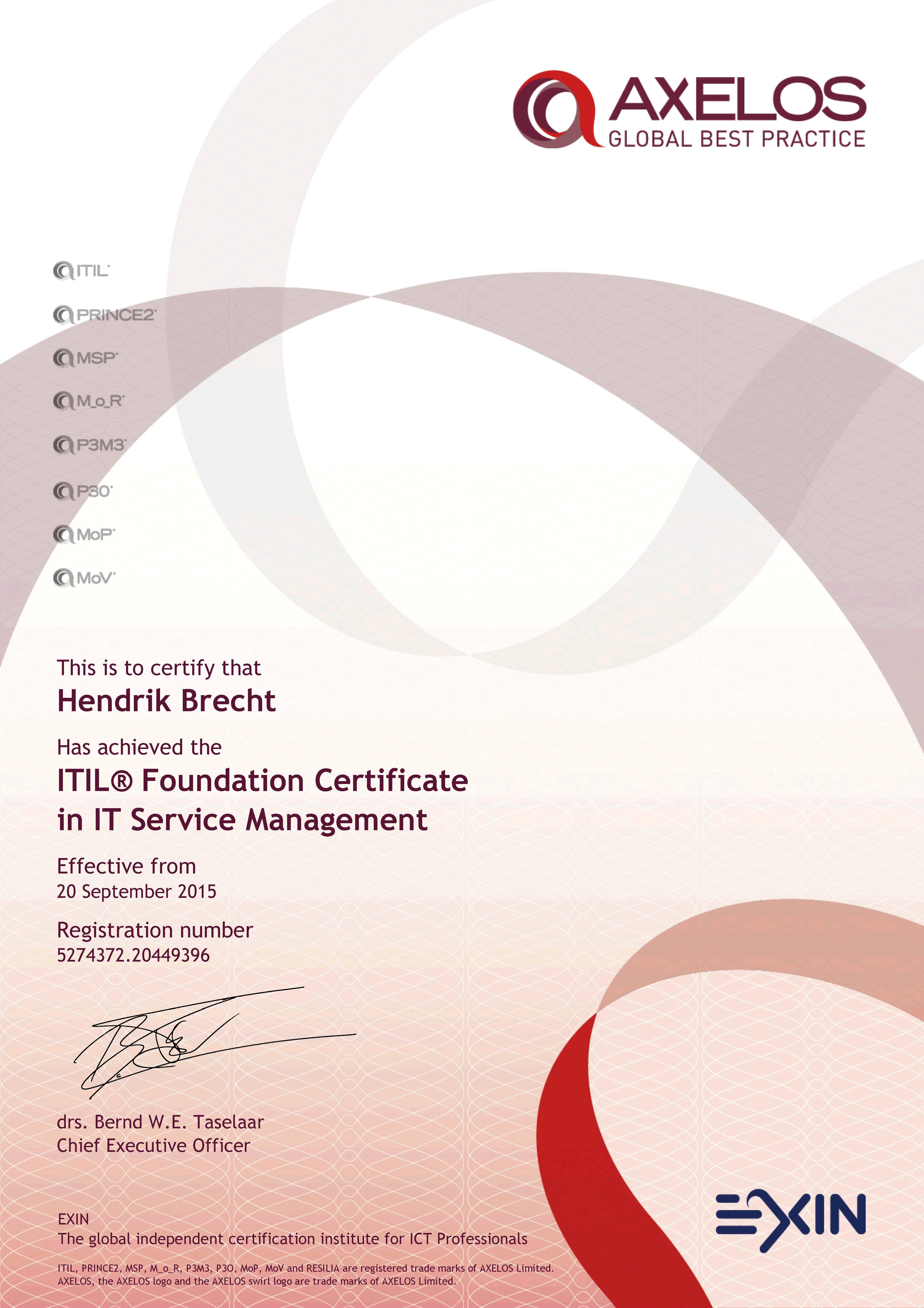 Hendrik Brecht - ITIL® Foundation Certificate in IT Service Management - 2015