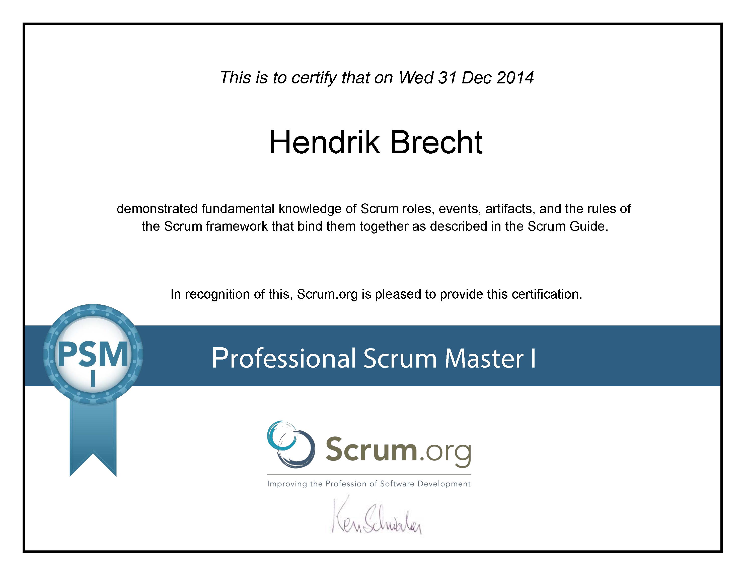 Hendrik Brecht - Professional Scrum Master 2014 PSM