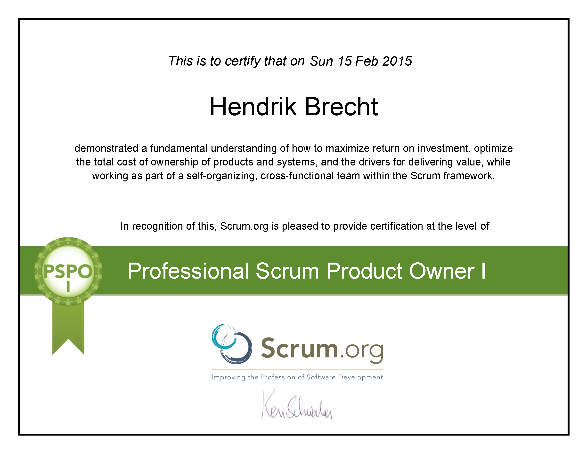 Hendrik Brecht - Professional Scrum Product Owner - 2015 PSPO