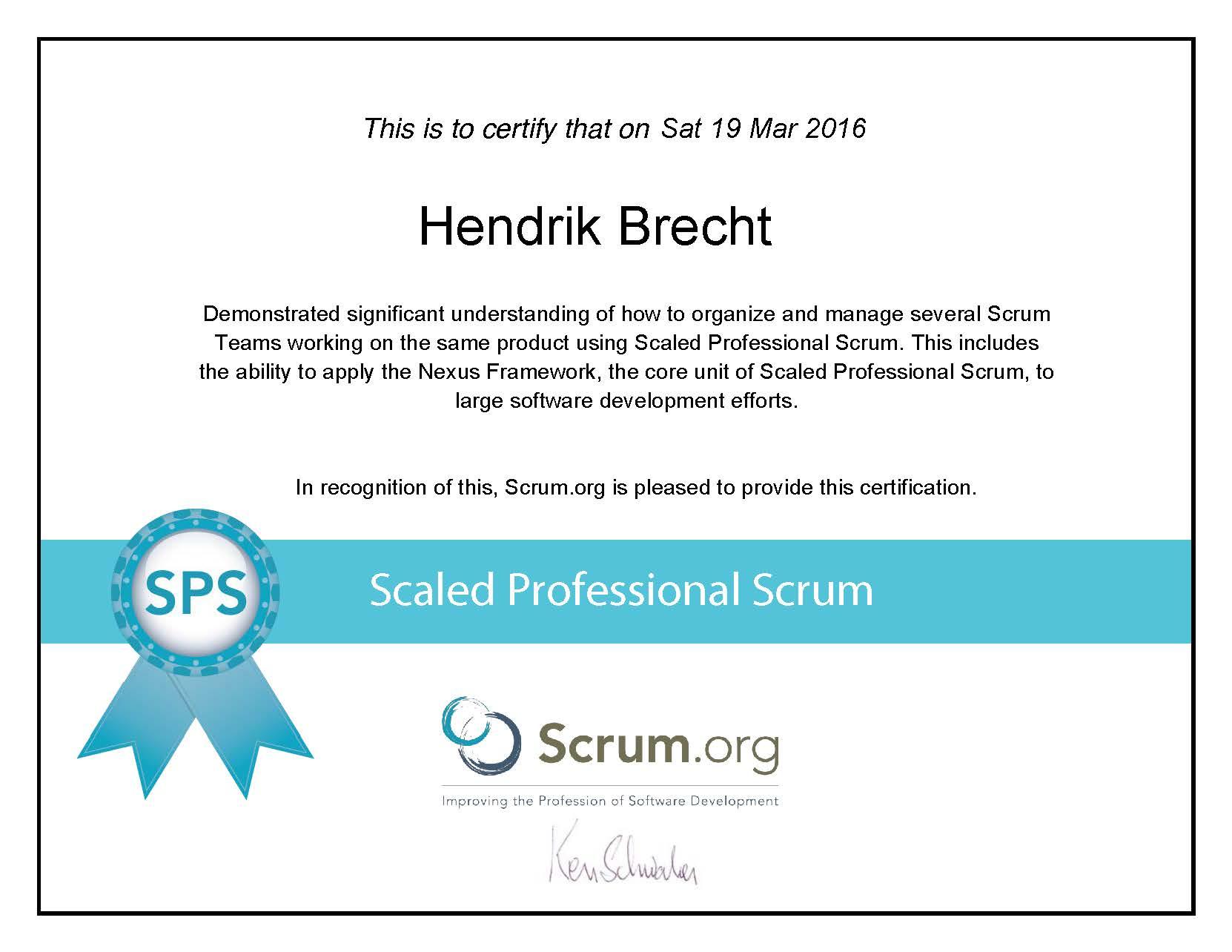 Hendrik Brecht - SPS Scaled Professional Scrum - 2016