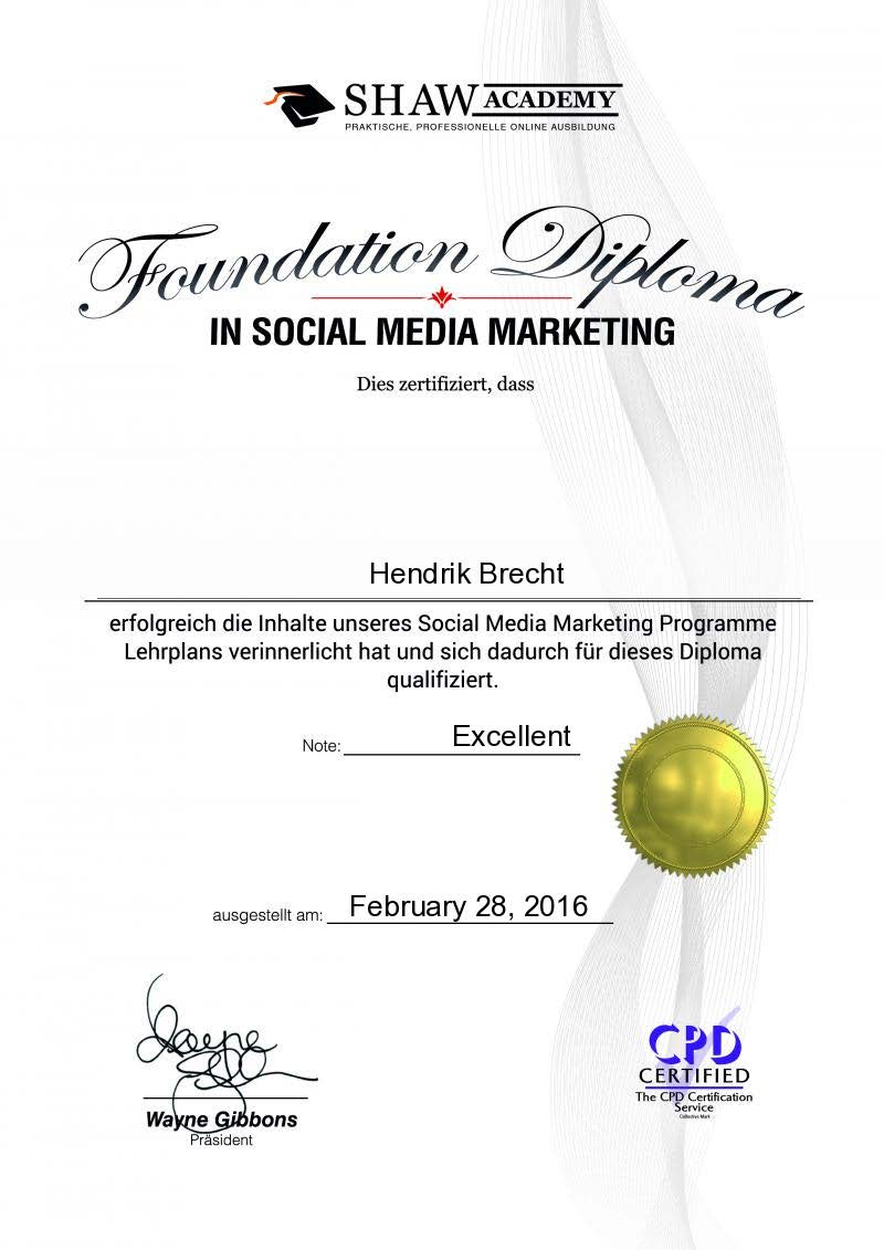 Hendrik Brecht - Social Media Marketing und Online Reputation Management - 2016