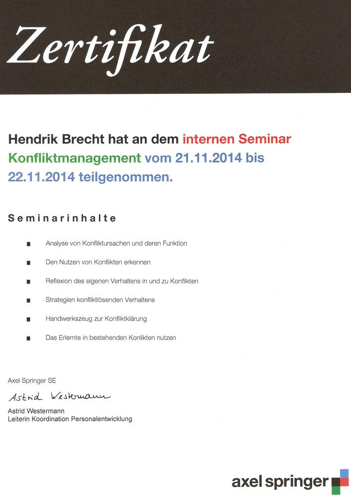 Hendrik Brecht - Konfliktmanagement - 2014