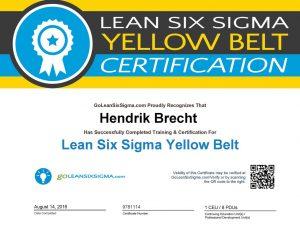 Lean Six Sigma - Yellow Belt Certificate, Hendrik Brecht