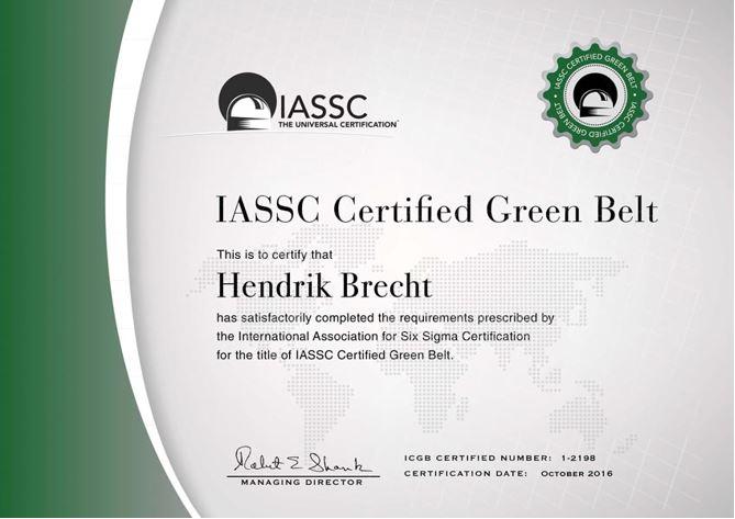 IASSC LSSGB Lean Six Sigma Green Belt - Hendrik Brecht
