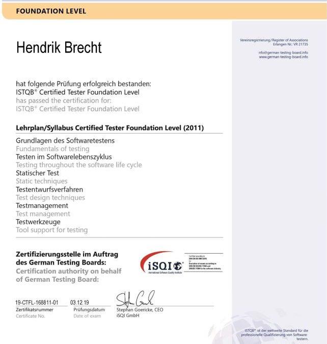 ISTQB CTFL Certified Tester - Hendrik Brecht